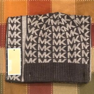 NWT Michael Kors Gray and Silver Hat & Scarf Set